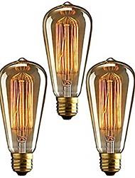 cheap -3pcs 40 W E26 / E27 ST64 Warm White 2200-2700 k Retro / Dimmable / Decorative Incandescent Vintage Edison Light Bulb 220-240 V