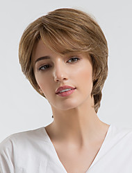 cheap -Human Hair Capless Wigs Human Hair Natural Wave Pixie Cut / Short Hairstyles 2019 Halle Berry Hairstyles Natural Hairline Brown Capless Wig Women's Daily Wear