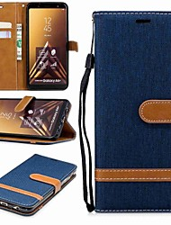 cheap -Phone Case For Samsung Galaxy Full Body Case Wallet Card A6 (2018) A6+ (2018) A3 A5 A8 2018 A8+ 2018 A5(2016) A3(2016) Wallet Card Holder with Stand Solid Color Hard Textile