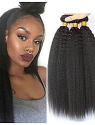 cheap -3 Bundles Malaysian Hair kinky Straight Human Hair Headpiece Extension Bundle Hair 8-28 inch Natural Black Human Hair Weaves Silky Smooth Extention Human Hair Extensions / 8A