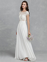 cheap -A-Line Wedding Dresses Scoop Neck Sweep / Brush Train Chiffon Lace Cap Sleeve Beautiful Back with Lace Sashes / Ribbons 2021