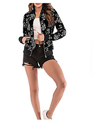 cheap -Women's Going out Basic Short Jacket, Floral / Botanical Stand Long Sleeve Polyester Black / White / Red