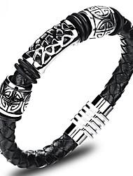 cheap -Men's Leather Bracelet Loom Bracelet Cut Out Magnetic Faith Vintage Chinoiserie Genuine Leather Bracelet Jewelry Black For Birthday Street / Titanium Steel / Platinum Plated