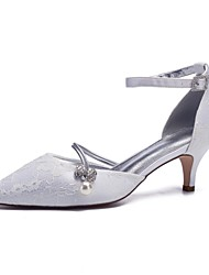 cheap -Women's Wedding Shoes Glitter Crystal Sequined Jeweled Kitten Heel Pointed Toe Imitation Pearl / Sparkling Glitter Lace / Satin Spring & Summer Champagne / White / Ivory / Party & Evening