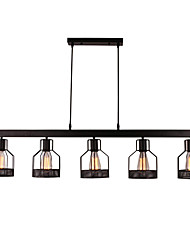 cheap -5-Light Vintage 5-Head Metal Cage Chandelier  Living Room Dining Room Retro Island Pendant Lighting Painted Finish
