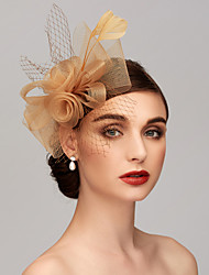 cheap -Feather / Net Kentucky Derby Hat / Fascinators / Headpiece with Feather / Floral / Flower 1pc Wedding / Special Occasion Headpiece