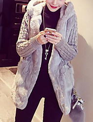 cheap -Women's Holiday / Work Street chic / Punk & Gothic Solid Colored / Striped / Color Block Plus Size Regular Parka, Faux Fur / POLY Long Sleeve Winter Hooded Brown / White / Gray XXL / XXXL / 4XL