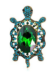 cheap -Women's Brooches Vintage Style Turtle Animal Ladies Unique Design Vintage Rhinestone Gold Plated Brooch Jewelry Green Blue For Evening Party Street