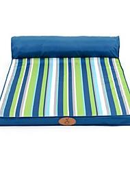 cheap -Dog Cat Pets Bed Sofa Cushion Lounge Sofa Warm Washable Cartoon Pet Mats & Pads Oxford Cloth Stripes Blue