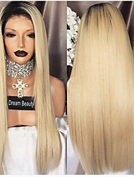 Недорогие -Натуральные волосы Лента спереди Парик Боковая часть Прически Венди Вилламс стиль Бразильские волосы Прямой Разноцветный Парик 130% Плотность волос / Волосы с окрашиванием омбре / Необработанные