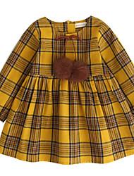 cheap -Kids Girls' Active Check Long Sleeve Dress Yellow