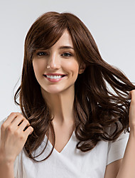 cheap -Human Hair Wig Curly Side Part Dark Brown Natural Hairline Capless Women's Brown 22 inch Daily Wear