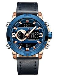 cheap -NAVIFORCE Men's Sport Watch Digital Watch Japanese Japanese Quartz Quilted PU Leather Black / Blue 30 m Water Resistant / Waterproof Calendar / date / day Dual Time Zones Analog - Digital Casual