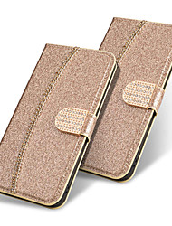 cheap -Phone Case For Apple Full Body Case Wallet Card iPhone 12 Pro Max 11 SE 2020 X XR XS Max 8 7 6 Wallet Card Holder Flip Solid Colored Glitter Shine Hard PU Leather