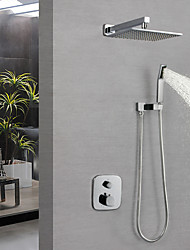 cheap -Shower Faucet - Contemporary Chrome Wall Mounted Brass Valve Bath Shower Mixer Taps / Single Handle Three Holes