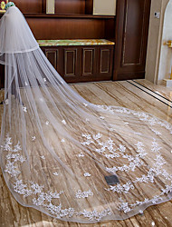 cheap -Two-tier Flower Style / Lace Applique Edge Wedding Veil Cathedral Veils with Appliques / Ruffles Lace / Tulle / Mantilla