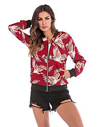 cheap -Women's Daily Spring &  Fall Regular Jacket, Floral Print Round Neck Long Sleeve Cotton / Polyester Print White / Black / Red