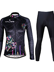 cheap -ILPALADINO Women's Long Sleeve Cycling Jersey with Tights Winter Fleece Lycra Black Purple Orange Plus Size Bike Clothing Suit Breathable 3D Pad Quick Dry Ultraviolet Resistant Reflective Strips
