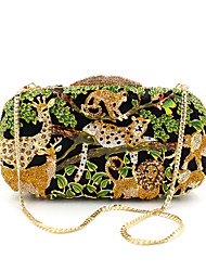 cheap -Women's Crystals / Hollow-out Alloy Evening Bag Rhinestone Crystal Evening Bags Animal Black / Fall & Winter