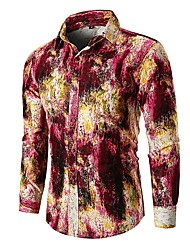 cheap -Men's Daily Basic Cotton Shirt - Abstract Blue / Long Sleeve