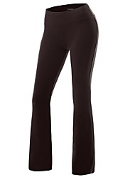 cheap -Women's Yoga Pants Bootcut Flare Leg Pants / Trousers Butt Lift Solid Color White Black Fuchsia Spandex Cotton Zumba Fitness Dance Sports Activewear Stretchy Slim