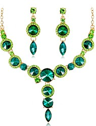 cheap -Women's Multicolor Sapphire Crystal Bridal Jewelry Sets Classic Ladies Fashion Earrings Jewelry Green / Blue / Champagne For Wedding Party Masquerade Engagement Party Prom Promise 1 set