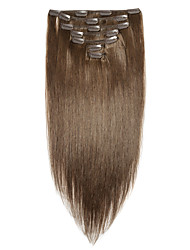 cheap -Vinsteen Clip In Human Hair Extensions Straight Virgin Human Hair Remy Human Hair Brazilian Hair Brown 1 Piece Best Quality 100% Virgin Women's Medium Brown
