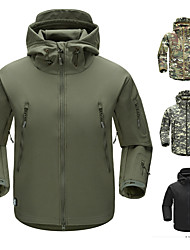 cheap -Men's Hiking Softshell Jacket Hiking Jacket Camo Winter Outdoor Waterproof Windproof Breathable Rain Waterproof Softshell Winter Jacket Top Hunting Climbing Military / Tactical Black Dark Grey Army