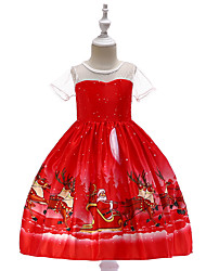 cheap -Kids Toddler Girls' Vintage Active Christmas Party Holiday Cartoon Christmas Short Sleeve Knee-length Dress Red