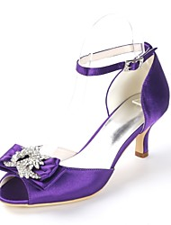 cheap -Women's Wedding Shoes D'Orsay & Two-Piece Kitten Heel Peep Toe Rhinestone / Bowknot / Buckle Satin Sweet Spring & Summer Royal Blue / Champagne / Ivory / Party & Evening