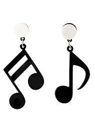 cheap -Women's Drop Earrings Mismatched Music Music Notes Ladies Artistic Korean Fashion Earrings Jewelry Black For Causal 1 Pair
