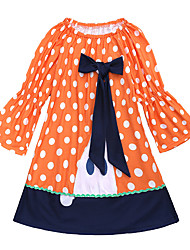 cheap -Baby Girls' Active / Basic Holiday Polka Dot / Halloween Lace Long Sleeve Above Knee Cotton Dress Orange / Toddler