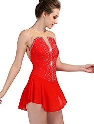 cheap -Figure Skating Dress Women's Girls' Ice Skating Dress Red Spandex Stretch Yarn Professional Competition Skating Wear Quick Dry Anatomic Design Handmade Classic Sexy Sleeveless Performance Ice Skating
