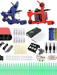 cheap -Tattoo Machine Professional Tattoo Kit - 2 pcs Tattoo Machines, Professional LCD power supply 2 cast iron machine liner & shader