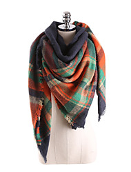 cheap -Women's Basic Square Scarf - Color Block Tassel / Fall / Winter