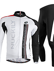 cheap -Nuckily Men's Long Sleeve Cycling Jersey with Tights Winter Fleece Polyester Lycra White Bike Clothing Suit Windproof Breathable Quick Dry Ultraviolet Resistant Reflective Strips Sports Vertical