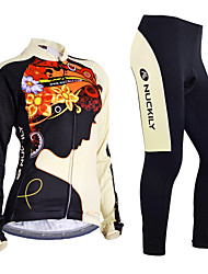 cheap -Nuckily Women's Long Sleeve Cycling Jersey with Tights Winter Fleece Polyester Lycra Black Floral Botanical Bike Jersey Clothing Suit Windproof Breathable Anatomic Design Reflective Strips Back Pocket
