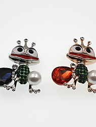 cheap -Women's Synthetic Amethyst Brooches 3D Animal Ladies Cartoon Imitation Pearl Rhinestone Brooch Jewelry Gold Silver For Daily