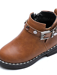 cheap -Girls' Comfort / Combat Boots Faux Leather / PU Boots Walking Shoes Beading / Buckle / Zipper Black / Dark Brown / Burgundy Spring &  Fall / Spring & Summer / Booties / Ankle Boots