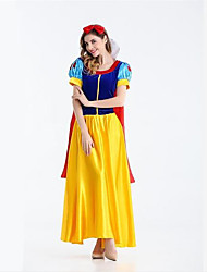 cheap -Princess Fairytale Snow Cosplay Costume Party Costume Women's Christmas Halloween Carnival Festival / Holiday Chiffon Satin Blue+Yellow Carnival Costumes Patchwork Bowknot
