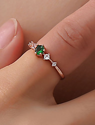 cheap -Women Ring Crystal Classic White Pink Green Brass Imitation Diamond Flower Ladies Simple Korean 1pc 6 7 8 9 / Women's / Tail Ring