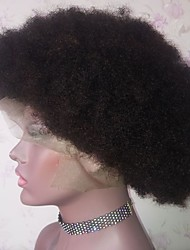 cheap -Remy Human Hair Lace Front Wig Bob Layered Haircut Middle Part style Brazilian Hair Afro Curly Natural Wig 130% Density with Baby Hair Natural Hairline African American Wig 100% Virgin Women's Short