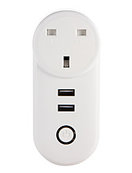 cheap -WETO W-T04 UK WiFi Smart Plug for Smart Home Remote Control Works With Alexa Google Home Dual USB Fast Charger Timer Socket for iOS Android