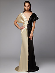 cheap -Sheath / Column Color Block Celebrity Style Formal Evening Dress Plunging Neck Short Sleeve Sweep / Brush Train Satin with Draping 2021