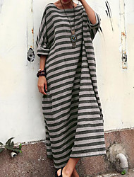 cheap -Women's Maxi Light gray Dark Gray Dress Daily Beach Shift T Shirt S M Oversized