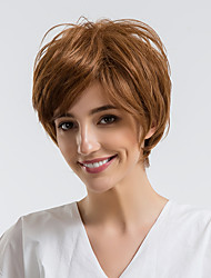 cheap -Human Hair Capless Wigs Human Hair Straight Pixie Cut / Short Hairstyles 2019 Halle Berry Hairstyles Natural Hairline Brown Capless Wig Women's Daily Wear