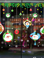 cheap -Christmas Cartoons Window Film & Stickers Decoration Happy New Year / Christmas Holiday / Character PVC(PolyVinyl Chloride) Window Sticker / Door Sticker / Lovely