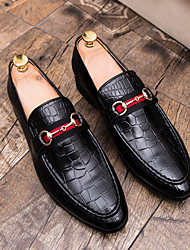 cheap -Men's Dress Shoes Fall Business / Classic Wedding Party & Evening Loafers & Slip-Ons Faux Leather Non-slipping Wear Proof Brown / Black