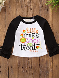 cheap -Baby Girls' Active / Basic Daily / Holiday Print / Halloween Long Sleeve Regular Tee Black / Toddler