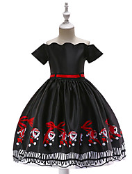 cheap -Kids Toddler Girls' Vintage Active Christmas Party Holiday Cartoon Christmas Short Sleeve Knee-length Dress Black